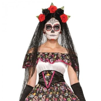 Black Veil Headband - Day of the Dead