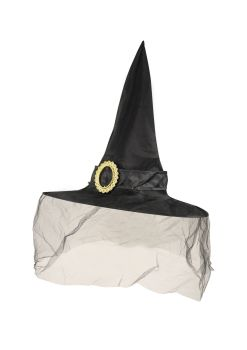 Black Witch Hat with Veil and Buckle