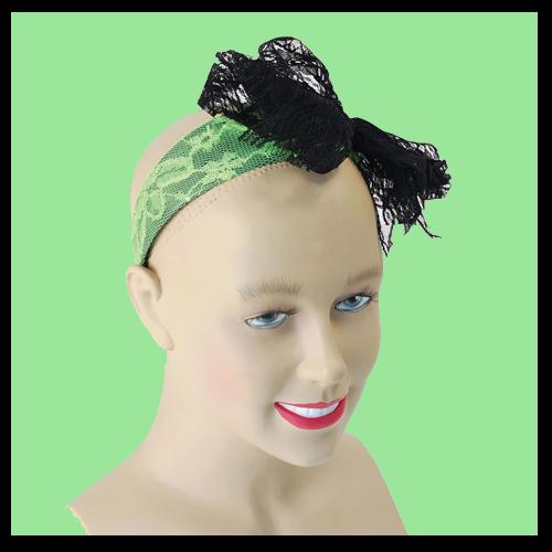 Lacey Bow Headband - Green