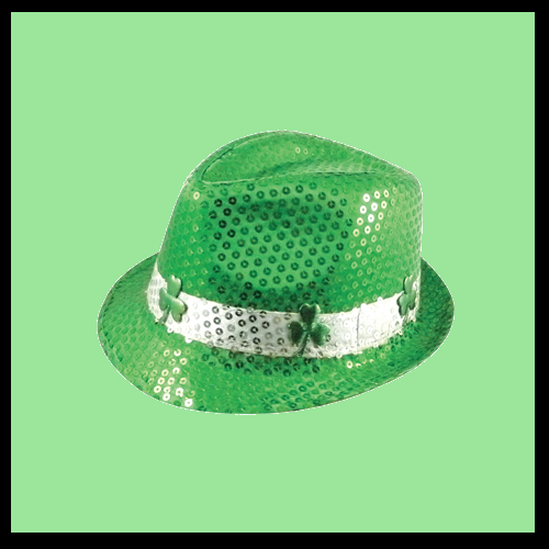 Green Sequin Trillby with Clovers