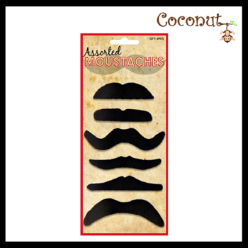 Moustache Pack - 6 Assorted styles (Black)