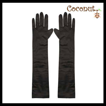 45cm Satin Gloves - Black