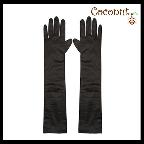 45cm Satin Gloves - Black