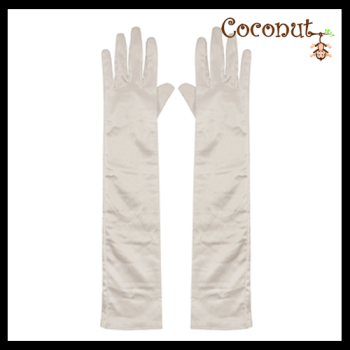 45cm Satin Gloves - White