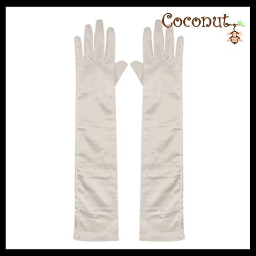 45cm Satin Gloves - White