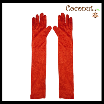 Long Velvet Gloves - Red