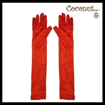 Long Velvet Gloves - Red