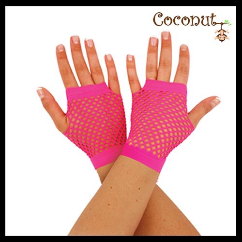 Fishnet Gloves - Pink