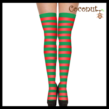Hold-Up Stockings - Red and Green