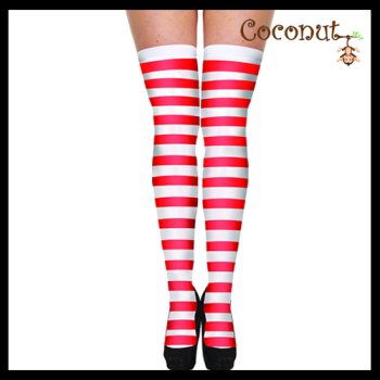 Hold-Up Stockings - Red and White