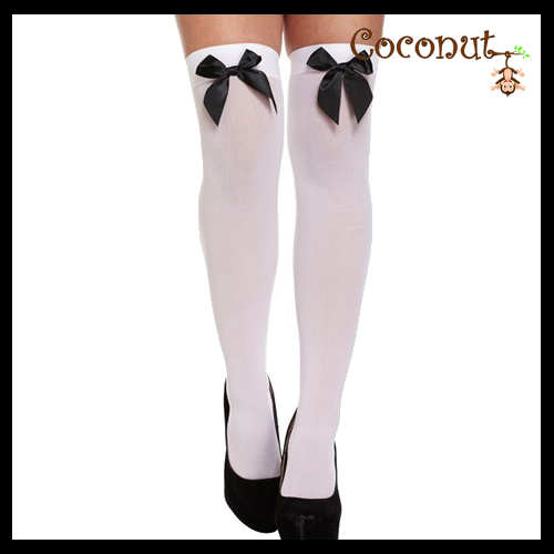Hold-Up Stockings - White with Black Bow