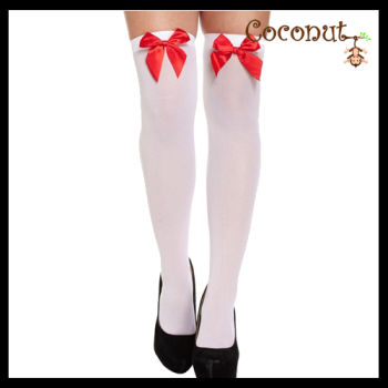 Hold-Up Stockings - White with Red Bow