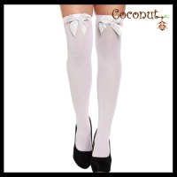 Hold-Up Stockings - White with White Bow