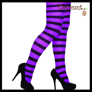 Stripey Tights - Black and Purple