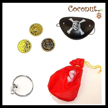 Money Bag With Coins, Eye Patch, Earing.