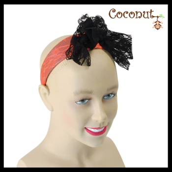 Lacey Bow Headband - Orange
