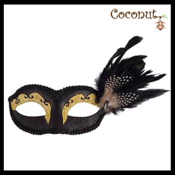 Black Glitter Mask with Feathers