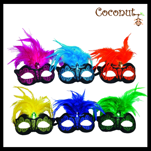 Neon Mask with Feathers