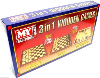 3-in-1 Wooden Games
