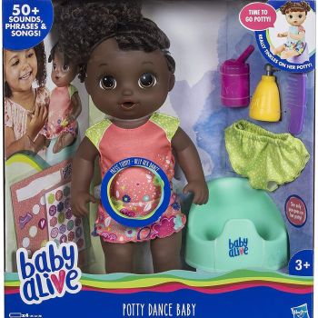 Baby Alive Potty Dance Baby with Brown Curly Hair