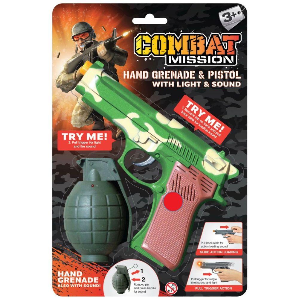 Hand Grenade and Pistol