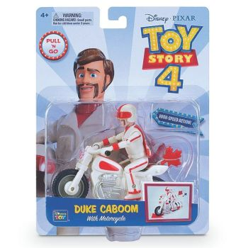 Toy Story 4 Duke Caboom With Pull Back Motorcycle