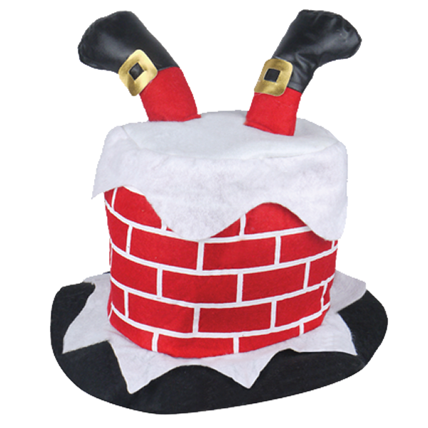 Adult Chimney With Santa Legs Hat