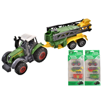 3 Piece Die-Cast Tractor With Trailers