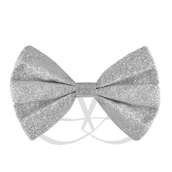 Silver Glitter Bow Tie