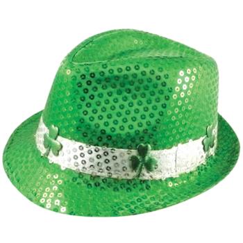 Irish Shamrock Sequin Gangster Hat