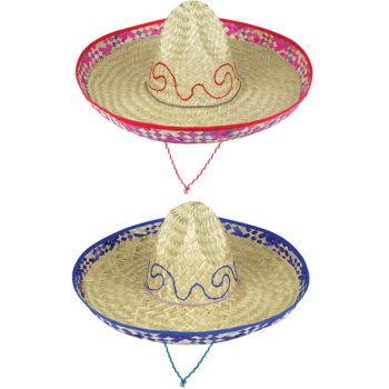 Straw Sombrero With Embroidery Design Assorted