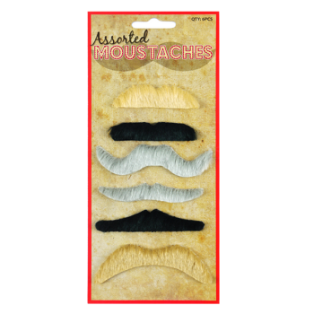 Assorted Moustaches Set (6 Assorted Styles And Colours)