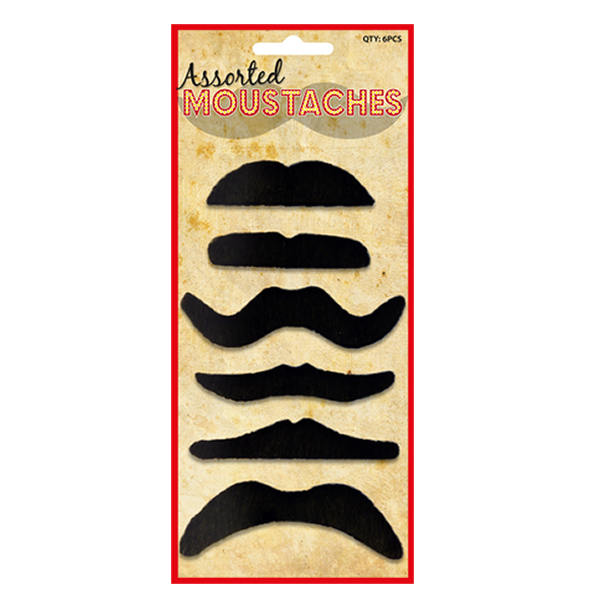 Assorted Black Moustaches (6 Assorted Styles)