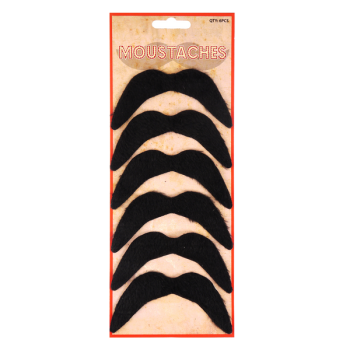6 Piece Black Moustache Set