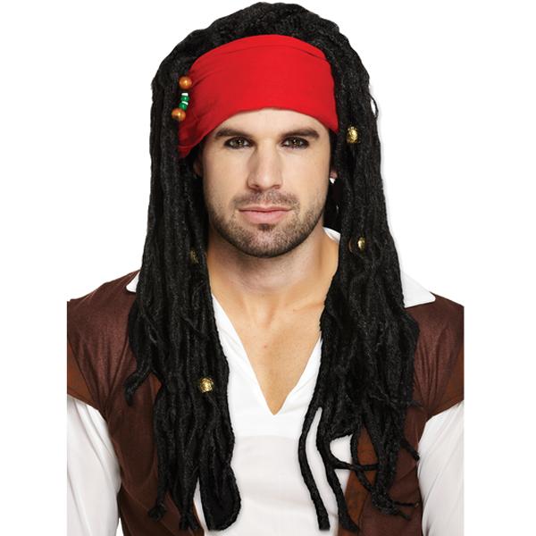 Pirate Wig With Bandana And Dreadlocks