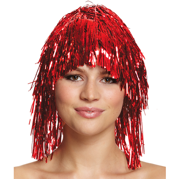 Tinsel Wig Red