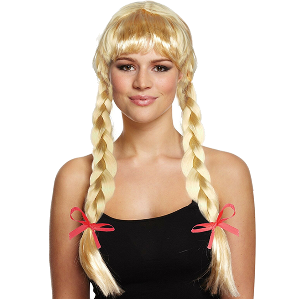 Long Blonde Plaits With Red Bows