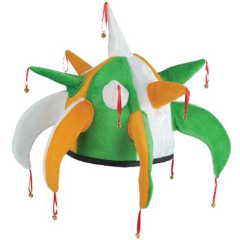 Irish Tri-colour Jester Hat With Bells