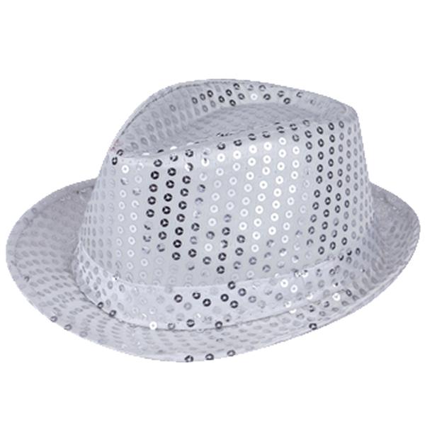 Silver Sequin Gangster Hat