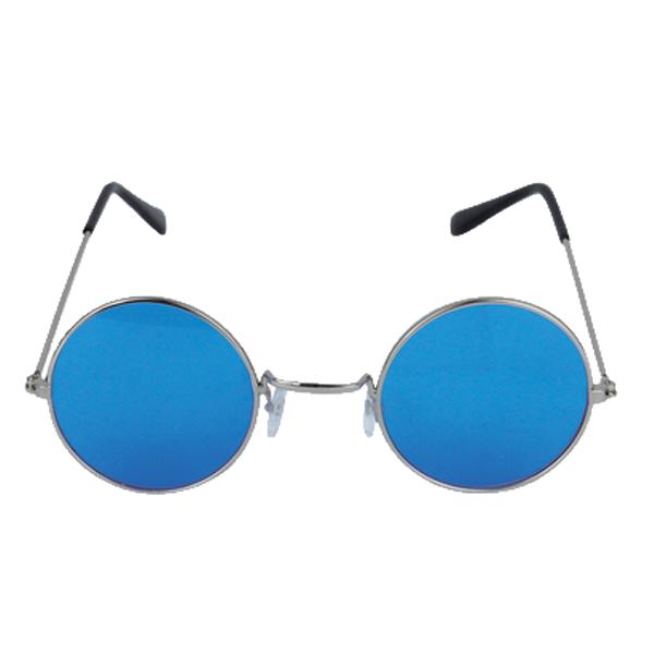 Silver Framed Glasses With Blue Lenses