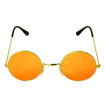 Gold Framed Glasses With Orange Lenses