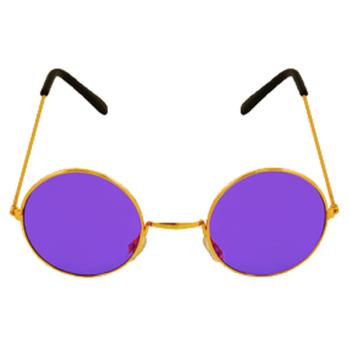 Gold Framed Glasses With Purple Lenses
