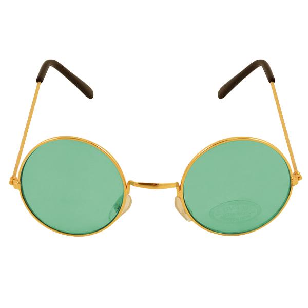 Gold Framed Glasses With Green Lenses