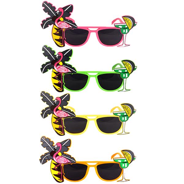 Neon Flamingo Glasses With Dark Lenses Assorted
