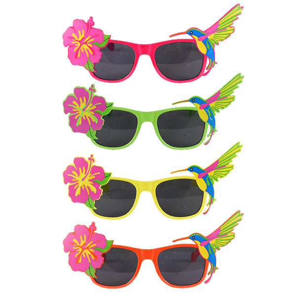 Tropical Style Glasses With Dark Lenses Assorted