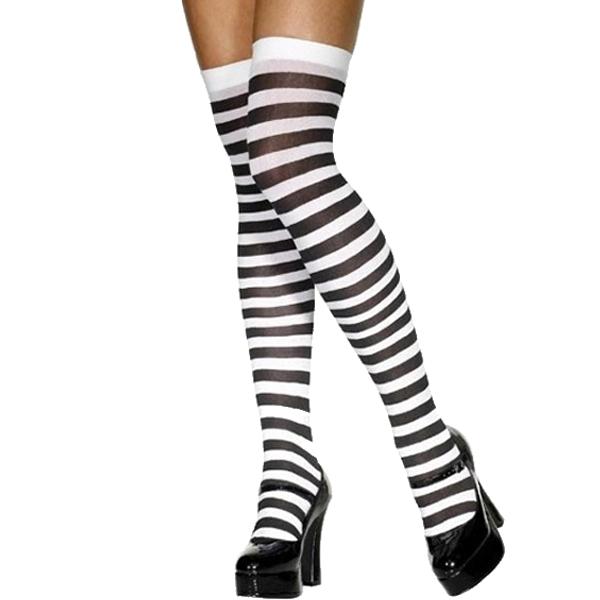 Hold-Up Stockings Black & White