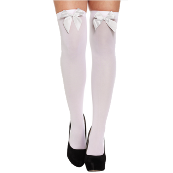 Hold-Up Stockings White With White Bow