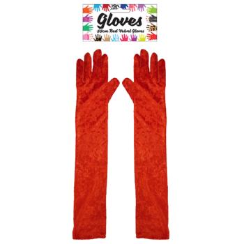 Long Red Velvet Gloves