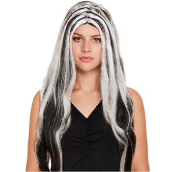 Long Black And White Witch Wig