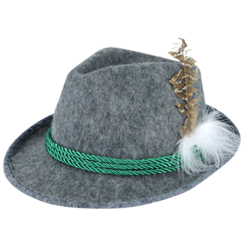 Oktoberfest Hat With Feather And Green Cord